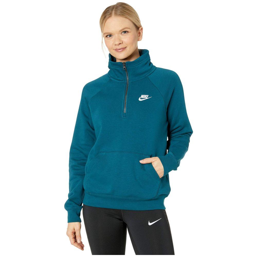 ナイキ Nike レディース フリース トップス【NSW Essential Top 1/4 Fleece】Midnight Turquoise/White