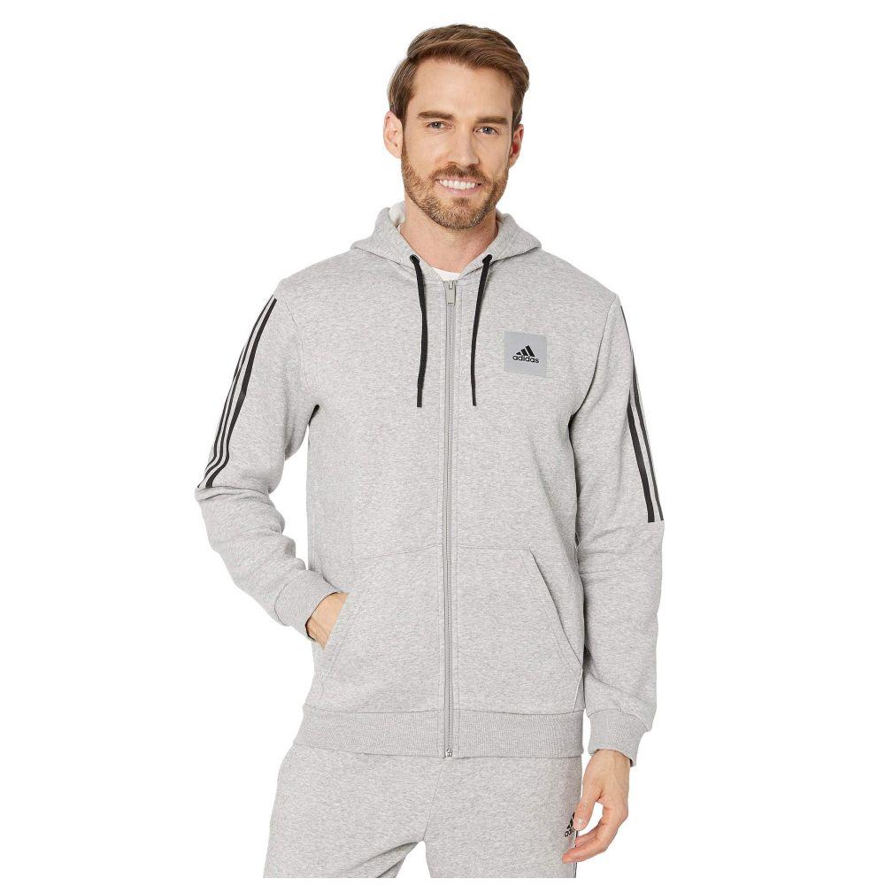 アディダス adidas メンズ フリース トップス【Must Have Fleece Full Zip Hoodie】Medium Grey Heather