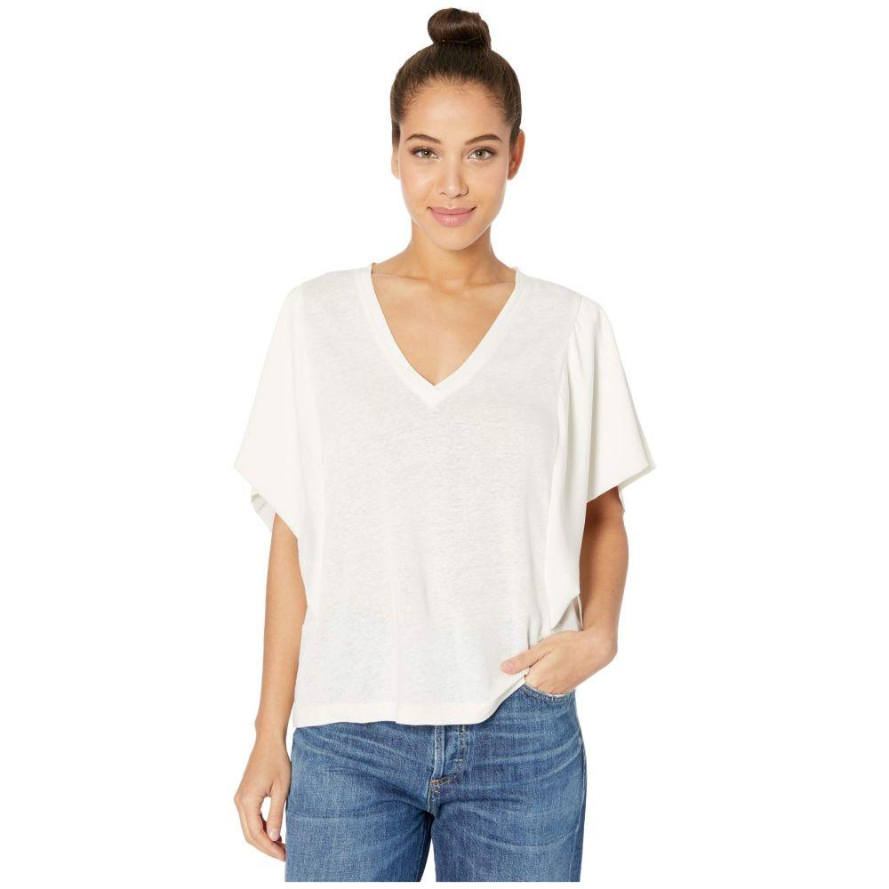 ビーシービージーマックスアズリア BCBGMAXAZRIA レディース Tシャツ Vネック トップス【V-Neck Drape Sleeve Knit Top】Off-White