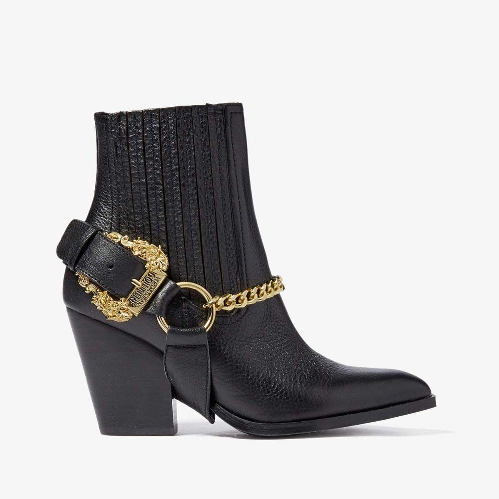 ヴェルサーチ Versace Jeans Couture レディース ブーツ ショートブーツ シューズ・靴【Moto Ankle Boots with Gold Hardware Detail】Black