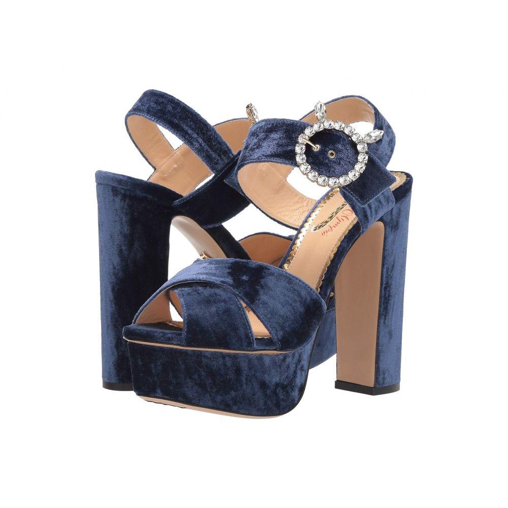 シャーロット オリンピア Charlotte Olympia レディース サンダル・ミュール シューズ・靴【Bejewelled Aristocat】Midnight Blue Velvet