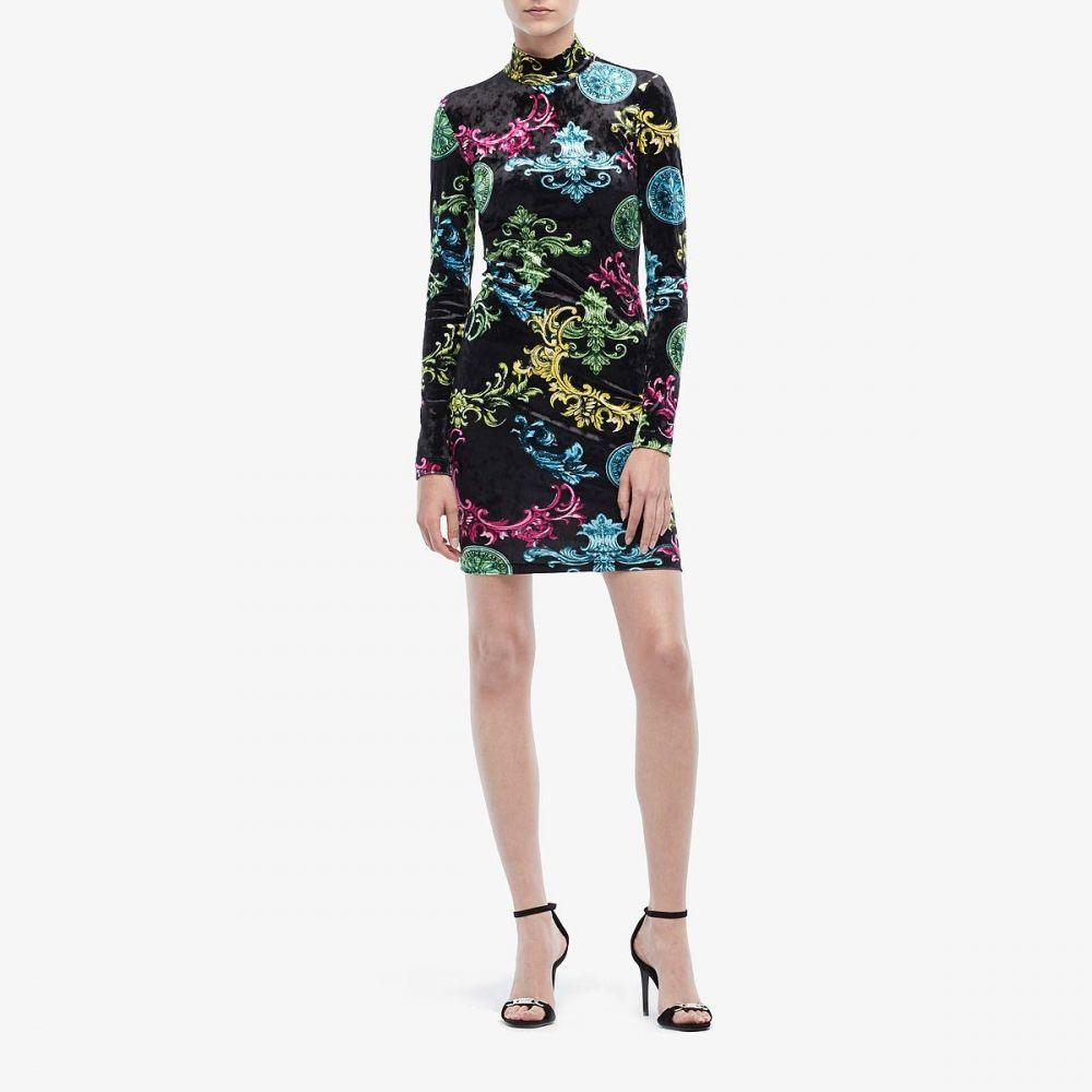 ヴェルサーチ Versace Jeans Couture レディース ワンピース ミニ丈 ワンピース・ドレス【Long Sleeve Baroque Velvet Mini Dress】Black