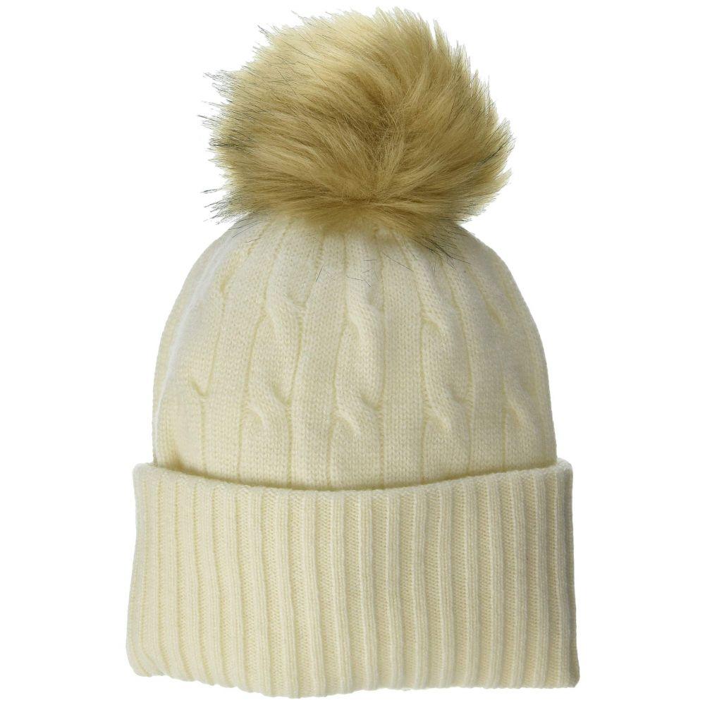 ラルフ ローレン Polo Ralph Lauren レディース ニット 帽子【Cashmere Classic Cable Cuff Hat w/ Pom】Cream