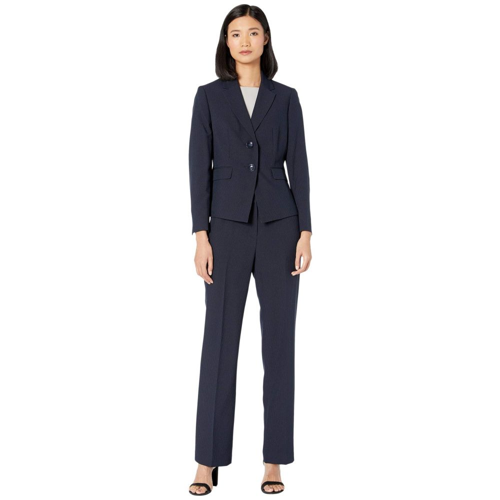 ル スーツ Le Suit レディース スーツ・ジャケット アウター【Two-Button Notch Collar Mini Pinstripe Pantsuit】Navy/Sapphire