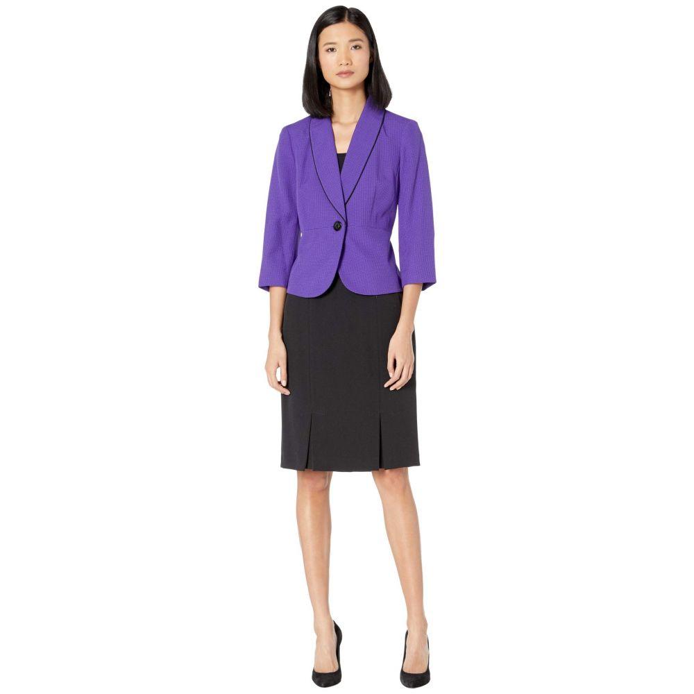 ル スーツ Le Suit レディース スーツ・ジャケット スカートスーツ アウター【Textured Mini Plaid One-Button Shawl Collar Skirt Suit】Grape/Black