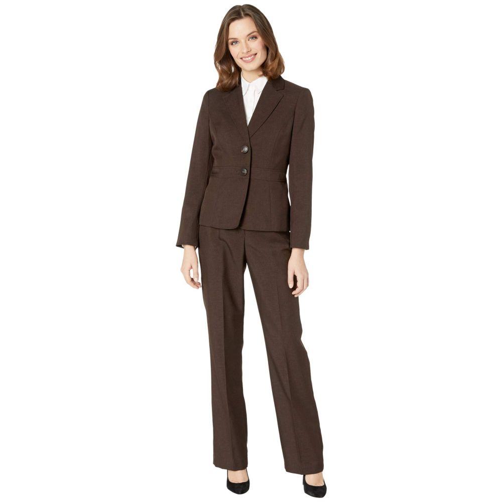 ル スーツ Le Suit レディース スーツ・ジャケット アウター【Two-Button Notch Collar Glazed Melange Pantsuit】Espresso