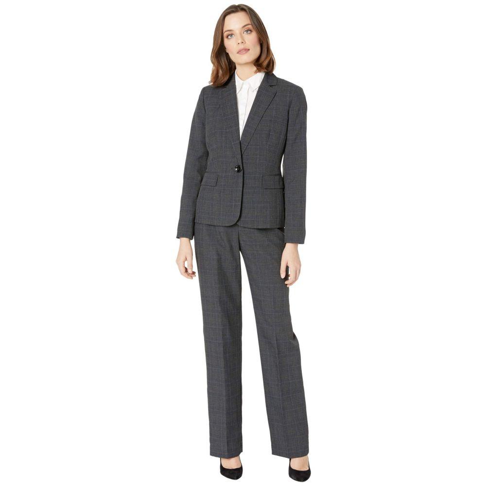 ル スーツ Le Suit レディース スーツ・ジャケット アウター【One-Button Notch Collar Plaid Pantsuit】Charcoal Multi