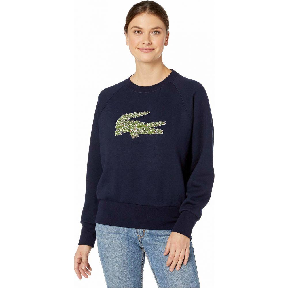 ラコステ Lacoste レディース スウェット・トレーナー トップス【Long Sleeve All Over Croc Brush Fleeced Sweatshirt】Navy Blue