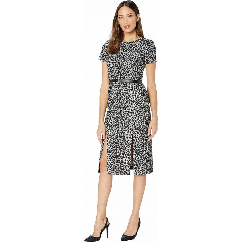 カルバンクライン Calvin Klein レディース ワンピース ワンピース・ドレス【Short Sleeve Animal Print Midi Dress w/ CK Logo Belt】Black/Cream