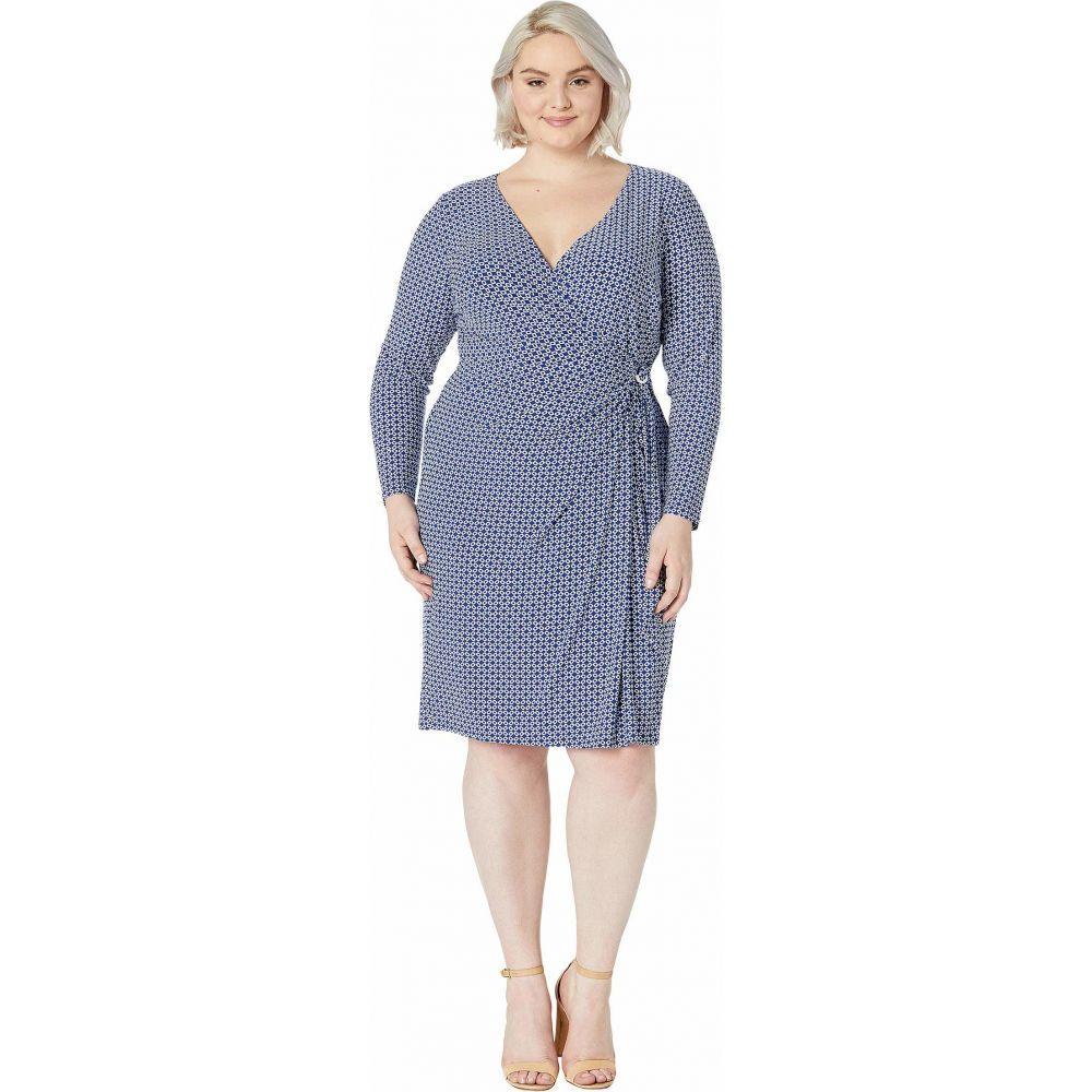 ラルフ ローレン LAUREN Ralph Lauren レディース ワンピース 大きいサイズ ワンピース・ドレス【Plus Size Print Jersey Long Sleeve Dress】Parisian Blue/Colonial Cream