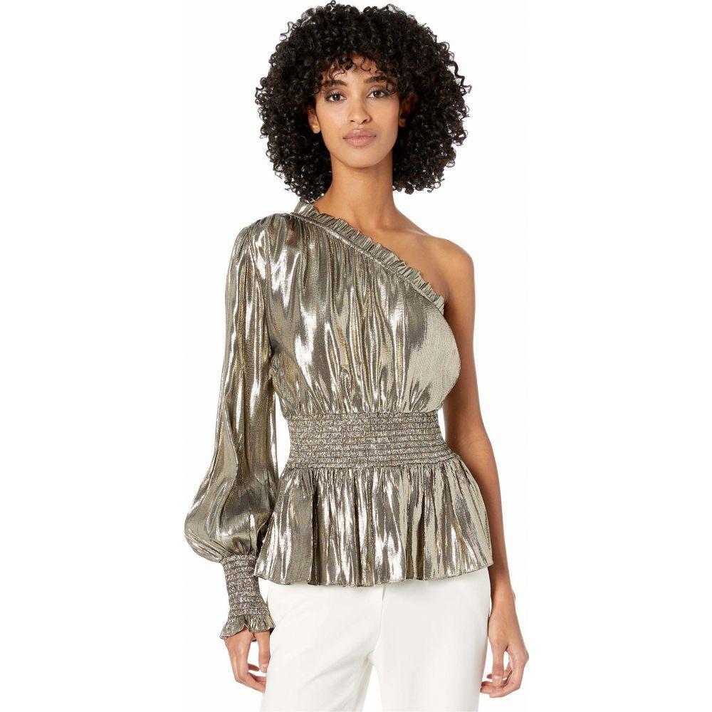 モニーク ルイリエ ML Monique Lhuillier レディース ブラウス・シャツ トップス【One Sleeve Smocked Waist Metallic Top】