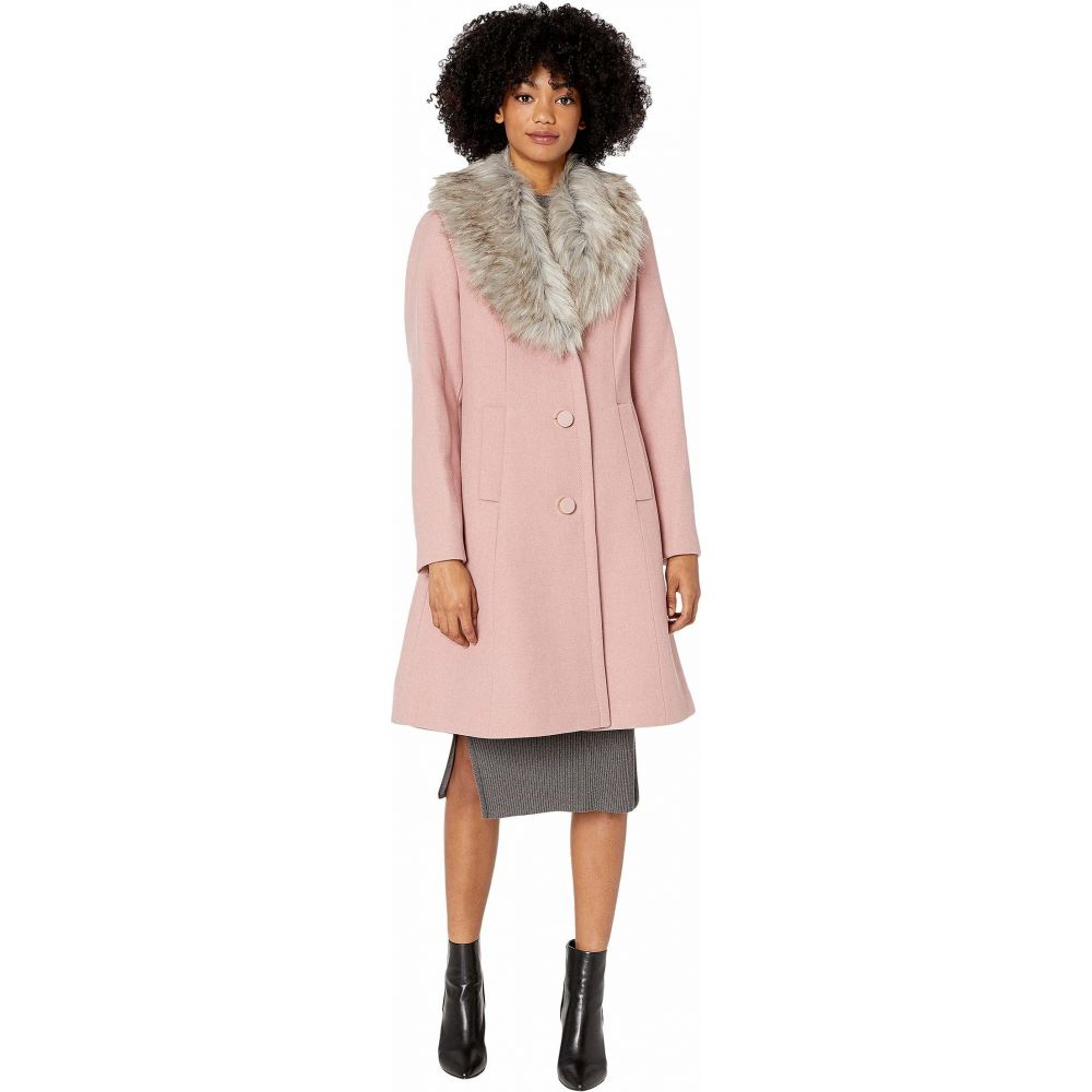 ケイト スペード Kate Spade New York レディース コート アウター【Single Breasted Faux Fur Collar Wool Coat】Soft Peony