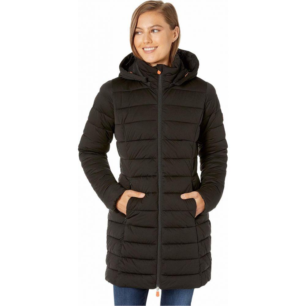 セイブ ザ ダック Save the Duck レディース ダウン・中綿ジャケット アウター【Sold 9 Puffer Coat with Detachable Hoodie】Black