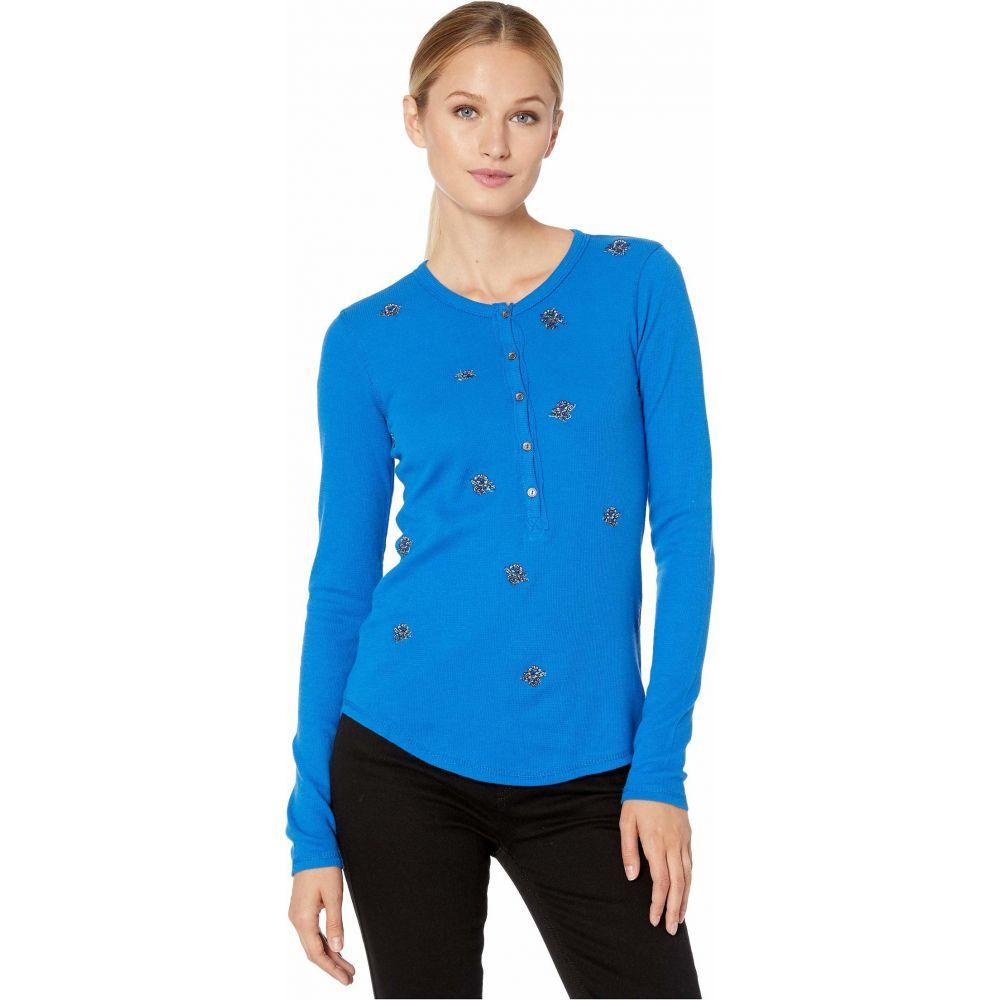 ラッキーブランド Lucky Brand レディース Tシャツ トップス【All Over Embroidered Thermal Top】Princess Blue