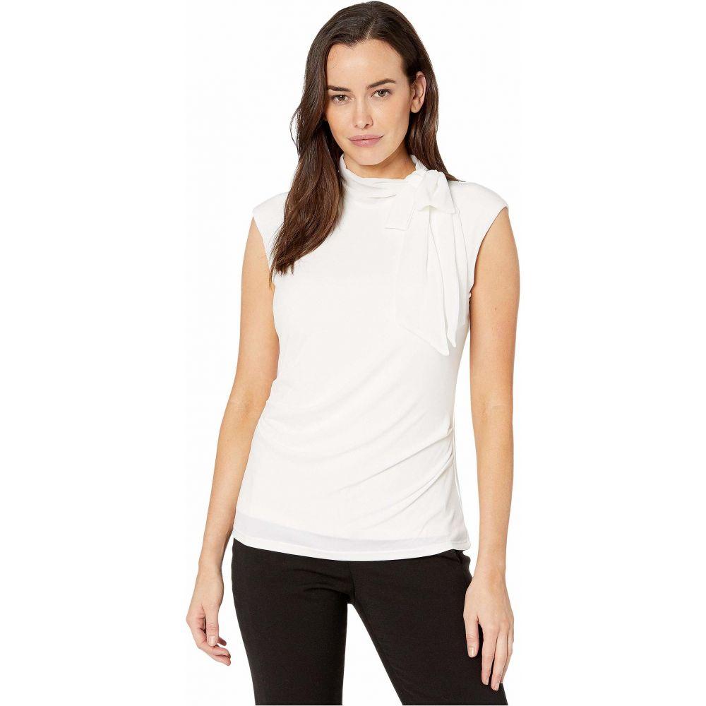 カルバンクライン Calvin Klein レディース ノースリーブ トップス【Sleeveless Top with Chiffon Tie】Soft White