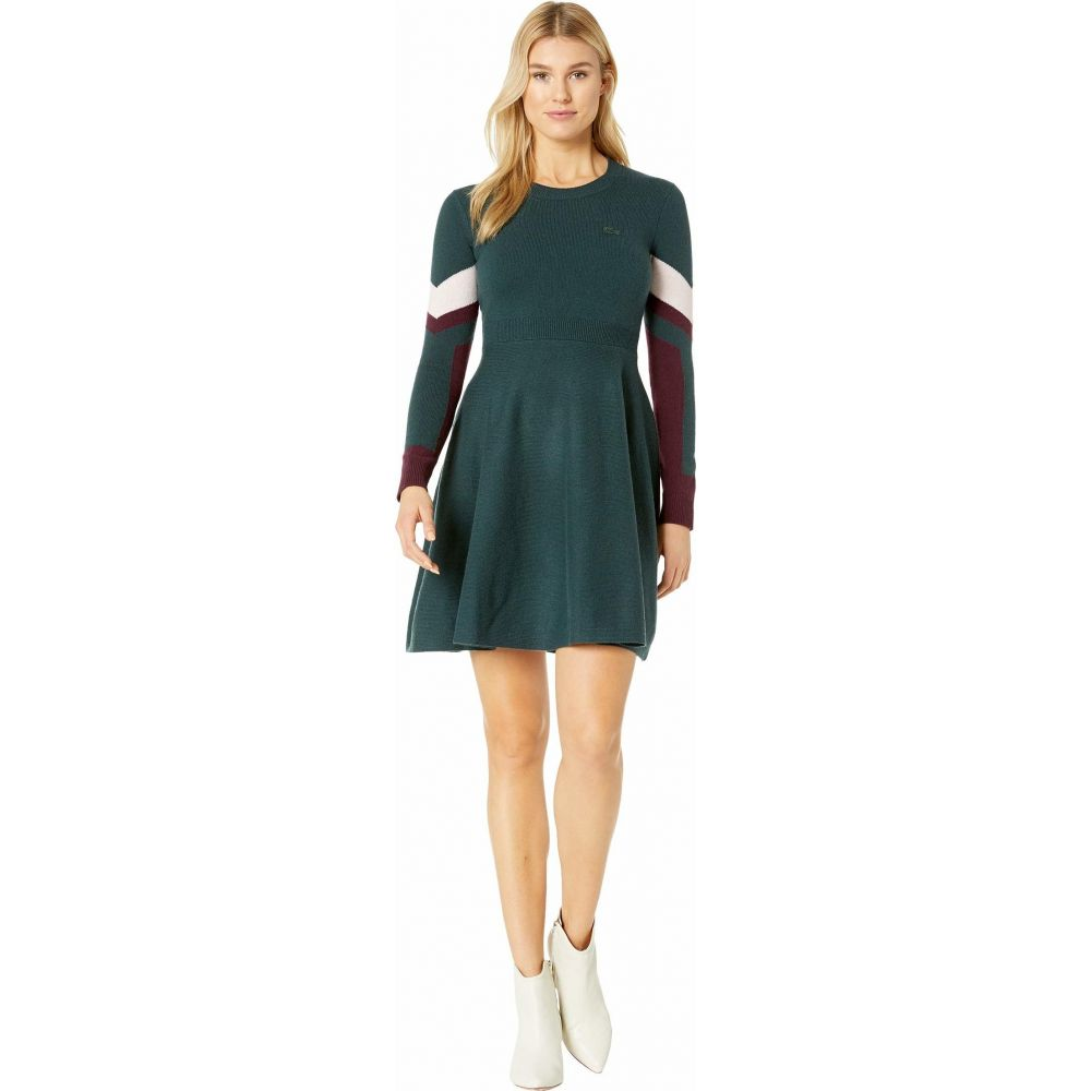 ラコステ Lacoste レディース ワンピース ワンピース・ドレス【Long Sleeve Argyle Color-Block Dress】Sinople/Eggplant/Flamingo