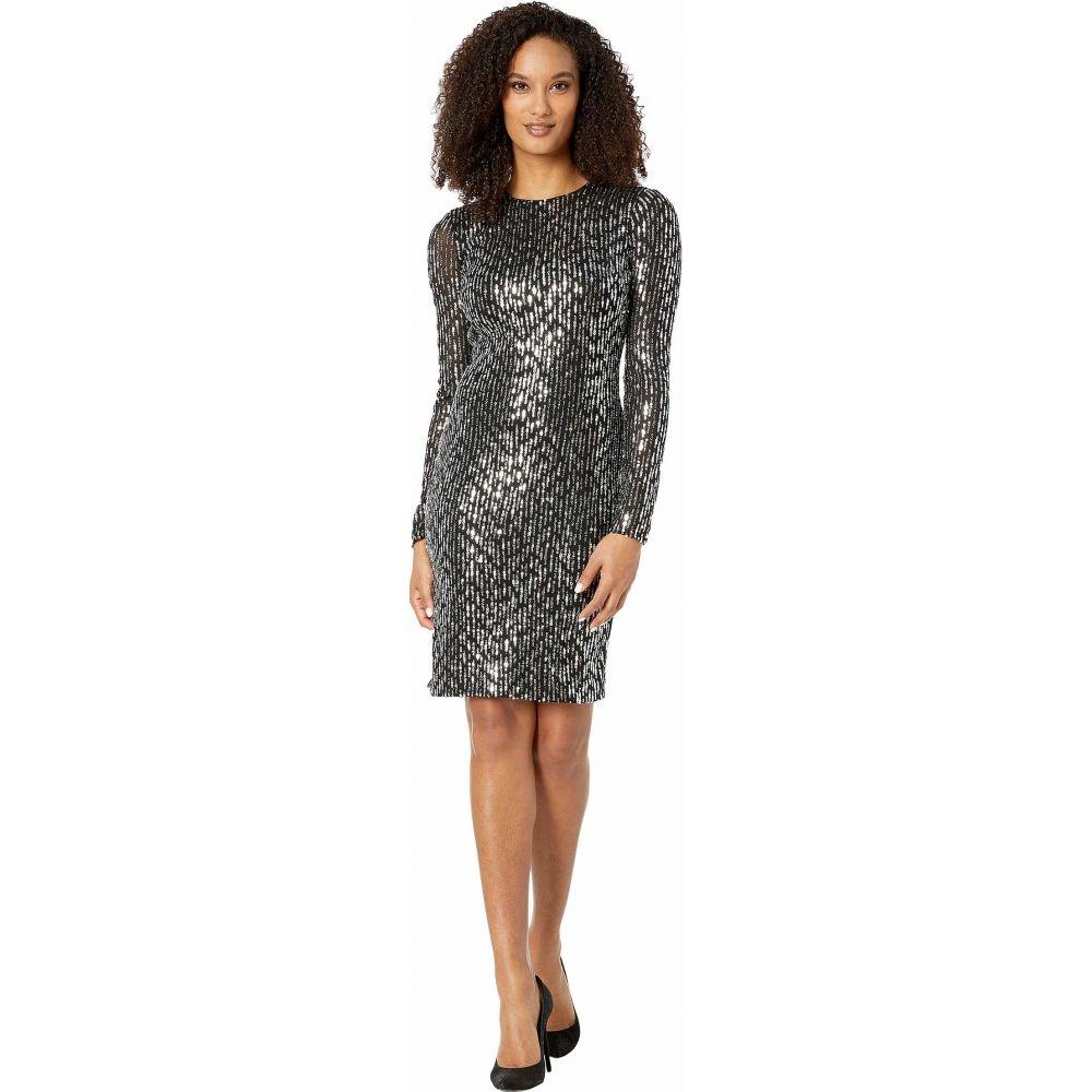 カルバンクライン Calvin Klein レディース ワンピース ワンピース・ドレス【Long Sleeve Sequin Sheath Dress】Black/Tin