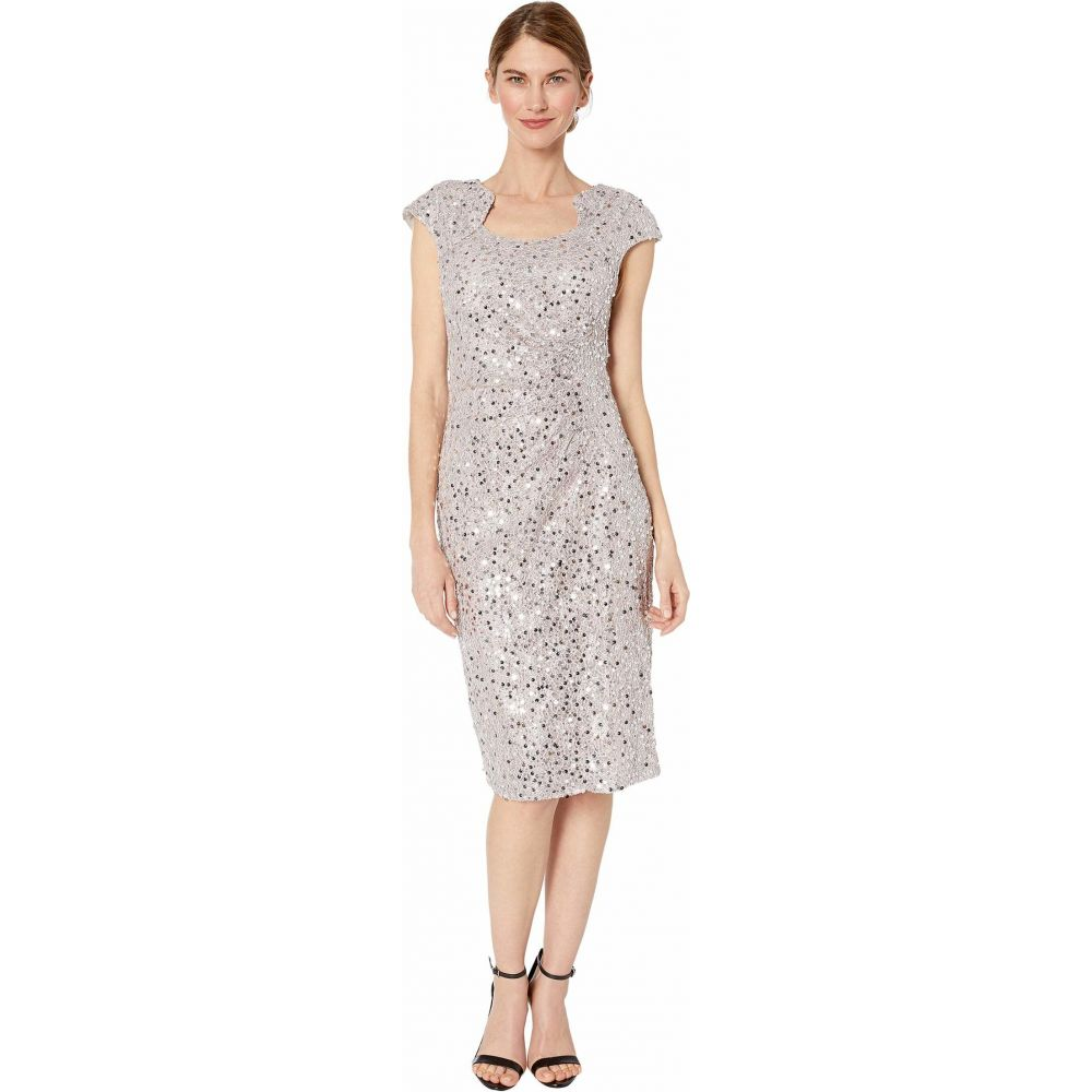 タハリ Tahari by ASL レディース ワンピース ワンピース・ドレス【Petite Cap Sleeve Sequin Stretch Lace Side Draped Dress】