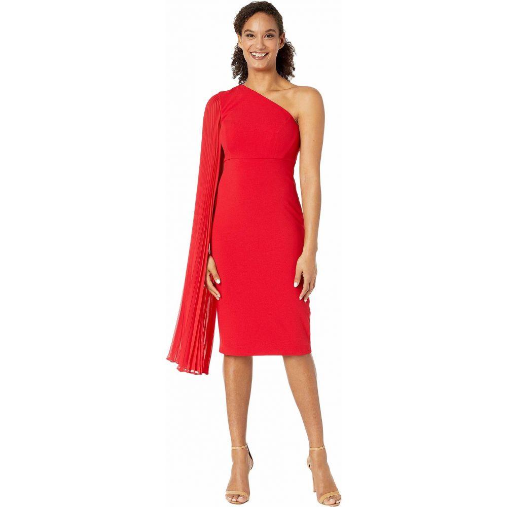 タハリ Tahari by ASL レディース ワンピース ワンピース・ドレス【One Shoulder Crepe Sheath Dress with Dramatic Pleated Fly Away Sleeve】Ruby