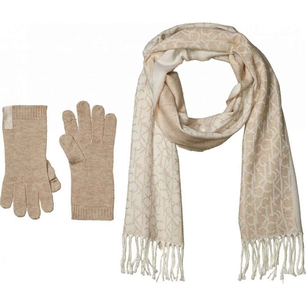 カルバンクライン Calvin Klein レディース 手袋・グローブ 【Two-Piece Woven Border Scarf and Knit Touch Gloves】Heathered Almond