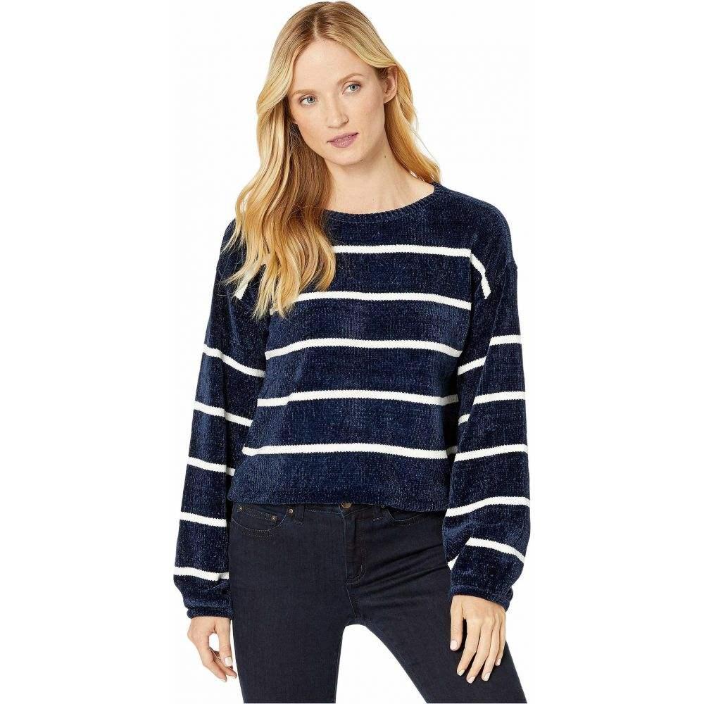 アメリカンローズ American Rose レディース ニット・セーター トップス【Gemma Striped Chenille Sweater】Navy/White