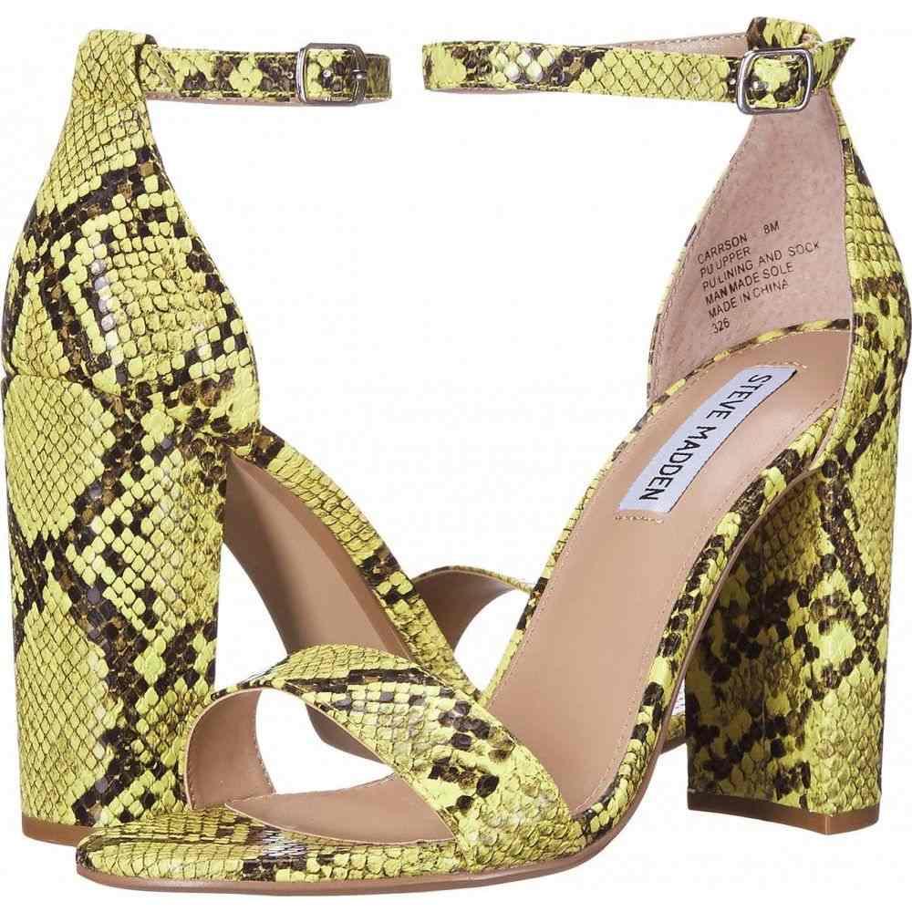 スティーブ マデン Steve Madden レディース サンダル・ミュール シューズ・靴【Carrson Heeled Sandal】Yellow Snake