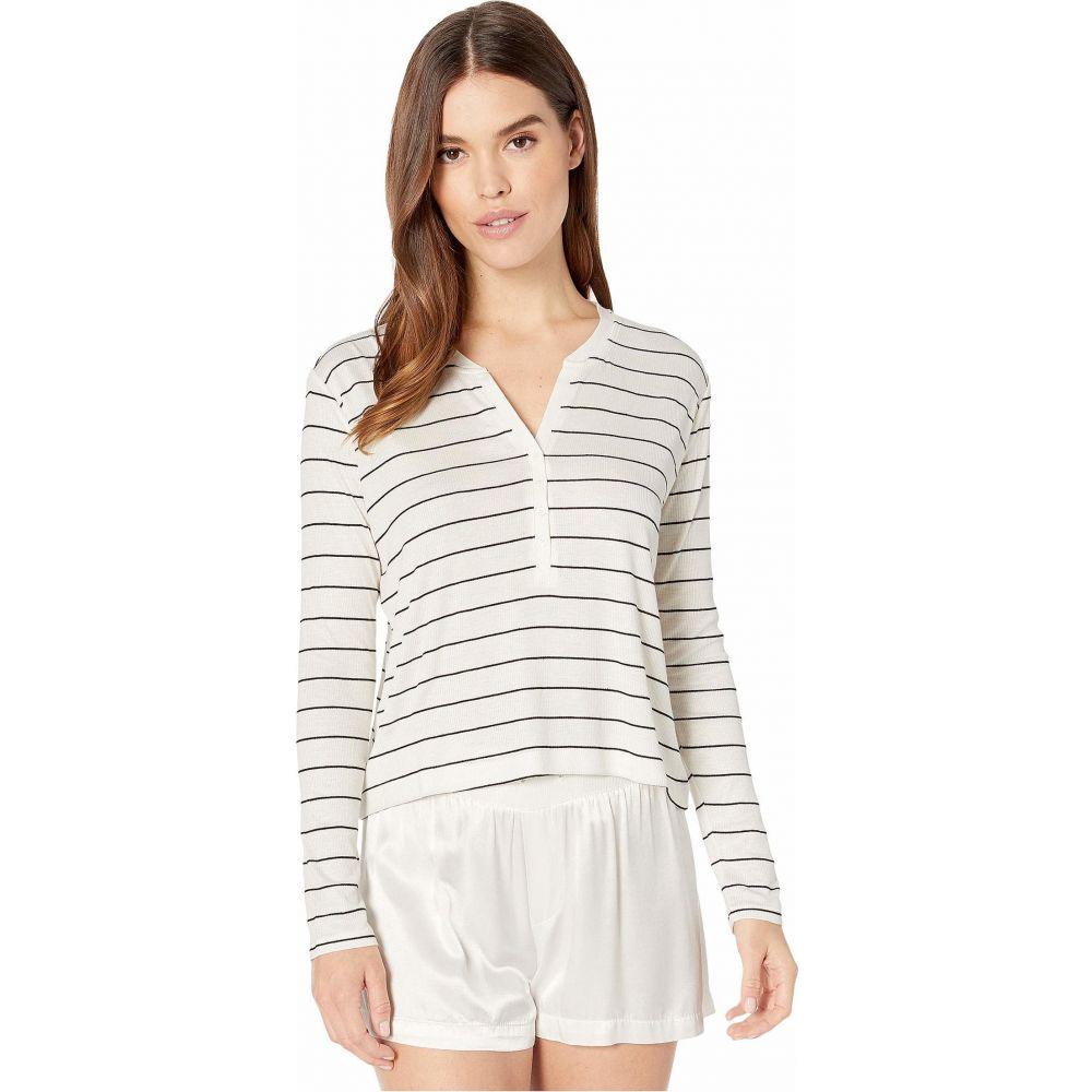 スプレンディッド Splendid レディース 長袖Tシャツ ヘンリーシャツ トップス【Striped Henley Long Sleeve】Off-White/Black