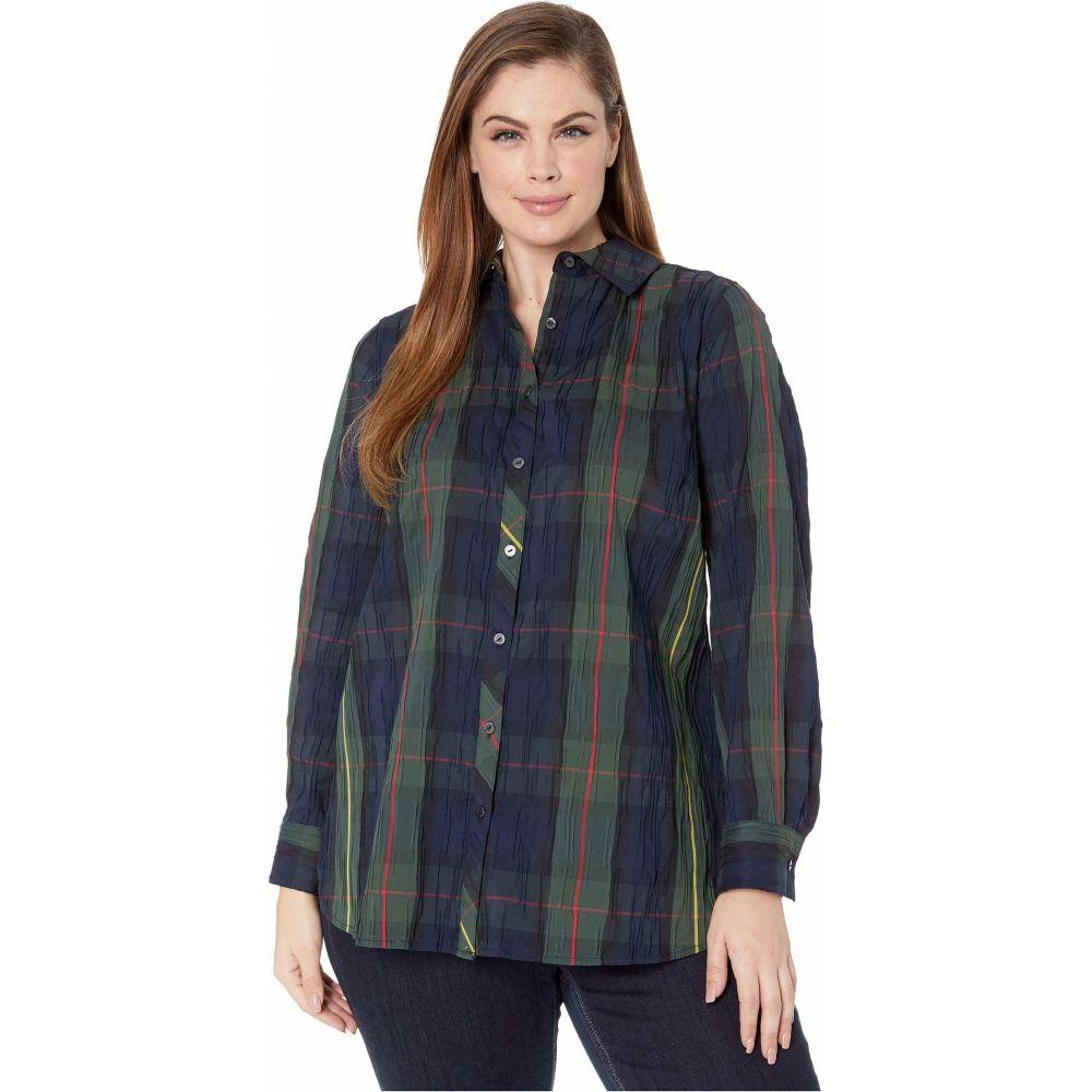 フォックスクロフト Foxcroft レディース ブラウス・シャツ 大きいサイズ トップス【Plus Size Germaine Crinkle Buffalo Shirt】Hunter Green