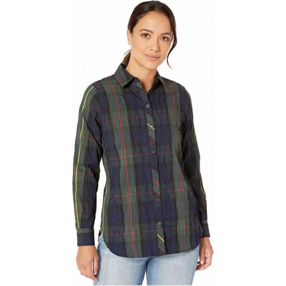 フォックスクロフト Foxcroft レディース ブラウス・シャツ トップス【Petite Germaine Crinkle Buffalo Shirt】Hunter Green
