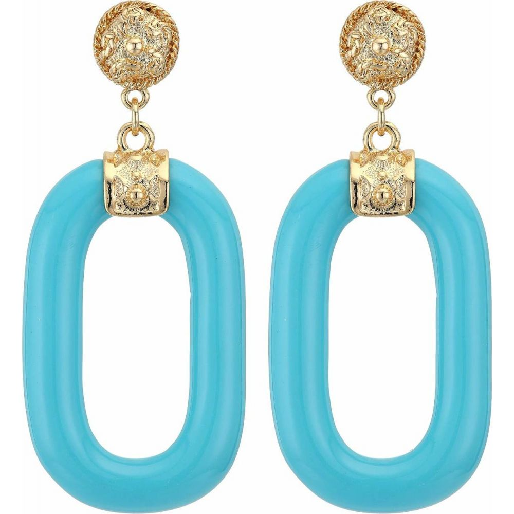 ケネスジェイレーン Kenneth Jay Lane レディース イヤリング・ピアス ジュエリー・アクセサリー【Polished Gold Top Turquoise Link Drop Pierced Earrings】Turquoise