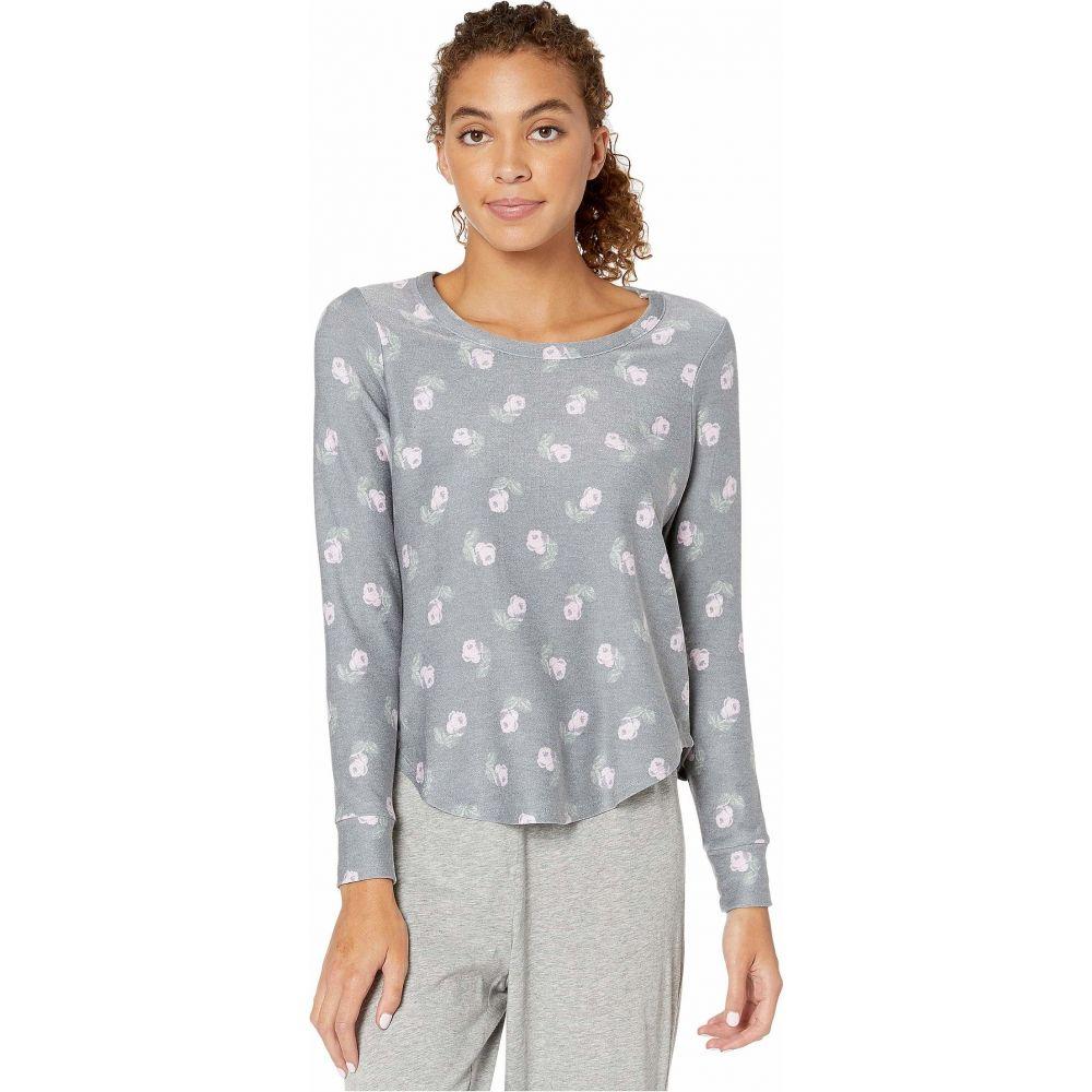 チェイサー Chaser レディース Tシャツ トップス【Cozy Knit Shirttail Pullover】Black Vintage Floral