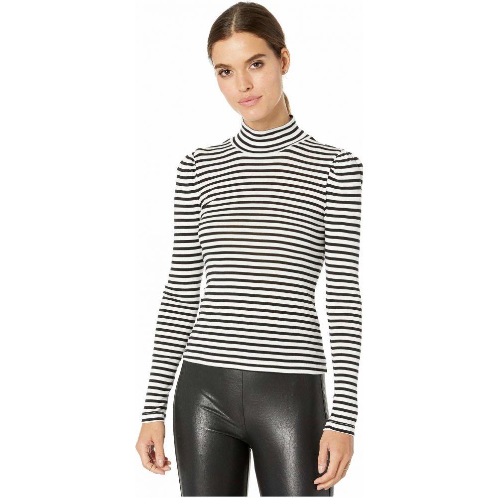 スプレンディッド Splendid レディース 長袖Tシャツ トップス【Striped Long Sleeve Turtleneck】Black/Off-White