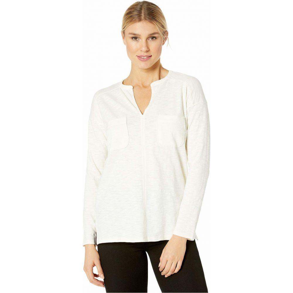 リラピー Lilla P レディース 長袖Tシャツ トップス【Loose Knit Slub Long Sleeve Split-Neck Top】Winter White