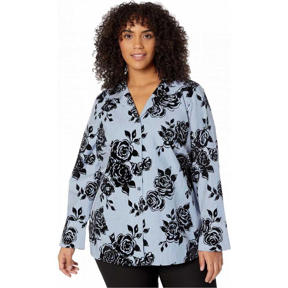 フォックスクロフト Foxcroft レディース ブラウス・シャツ 大きいサイズ トップス【Plus Size Jane Flocked Stripe Shirt】Twilight Blue
