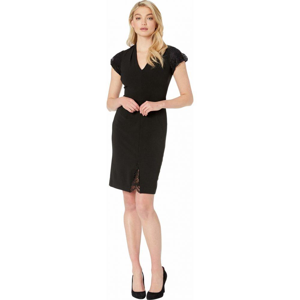 ベッツィ ジョンソン Betsey Johnson レディース ワンピース ワンピース・ドレス【Scuba Crepe Dress with Lace Detail】Black