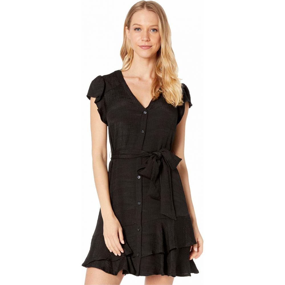 ワンステート 1.STATE レディース ワンピース ワンピース・ドレス【Short Sleeve Button Down Asymmetrical Ruffle Dress】Rich Black