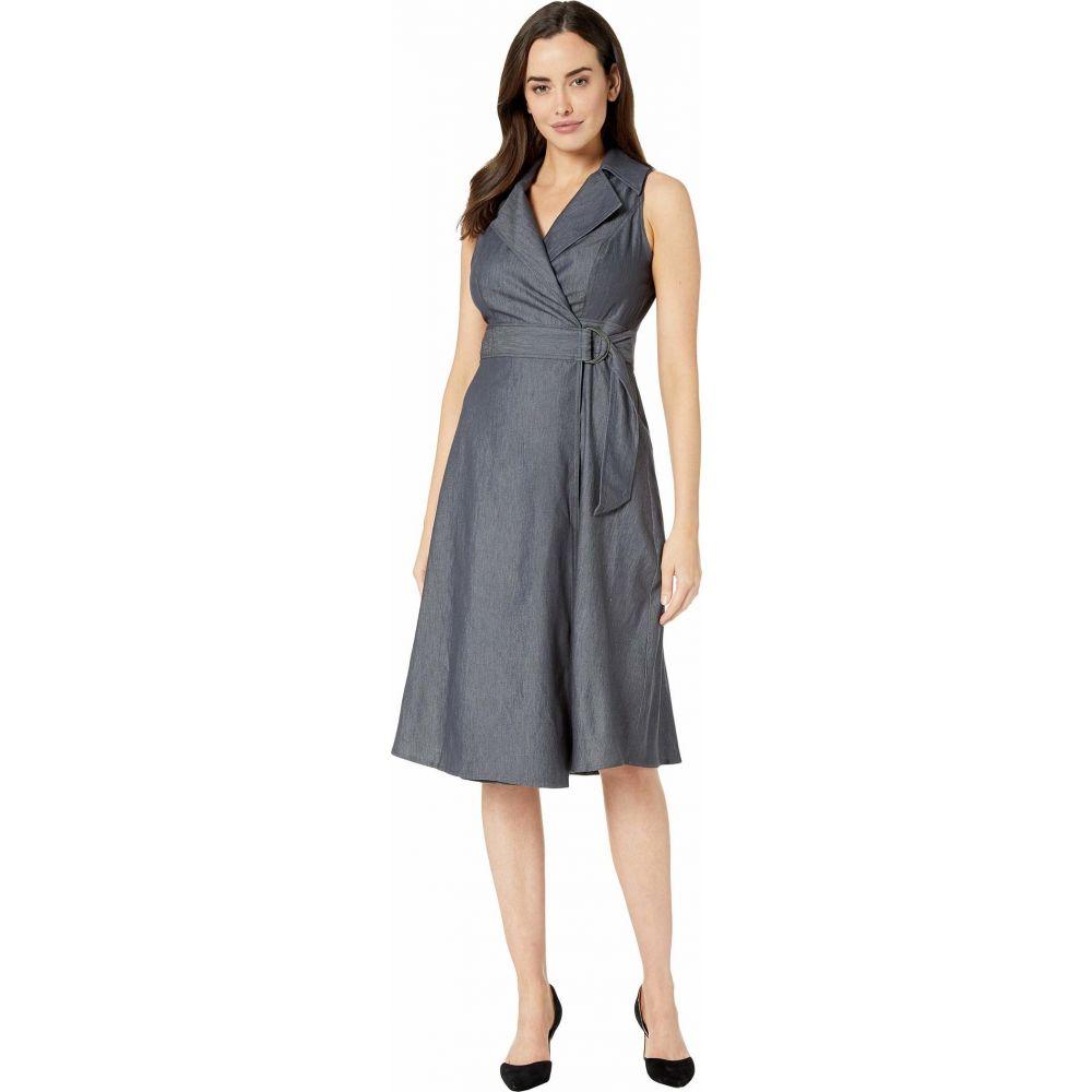 ロンドンタイムス London Times レディース ワンピース ワンピース・ドレス【Galanti Fit & Flare Notch Collar Dress】Denim