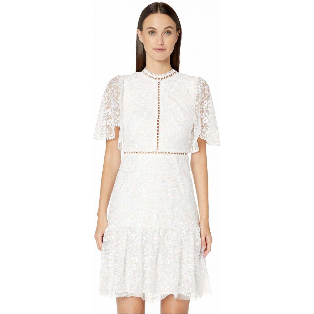 モニーク ルイリエ ML Monique Lhuillier レディース ワンピース ワンピース・ドレス【Floral Embroidered Mesh Short Sleeve Dress】White
