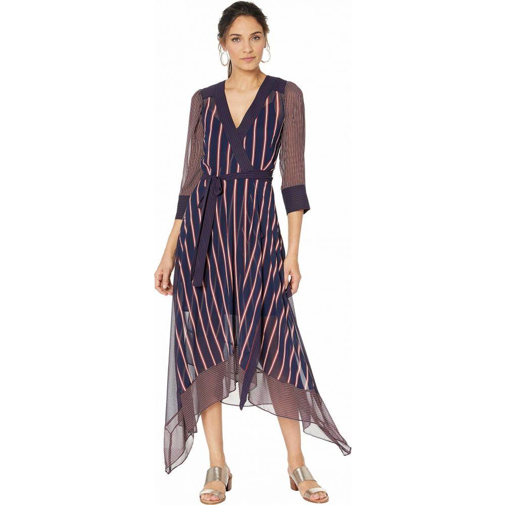 ビーシービージーマックスアズリア BCBGMAXAZRIA レディース ワンピース ラップドレス ワンピース・ドレス【Woven Stripe Wrap Dress】Pacific Blue/Valet Stripe