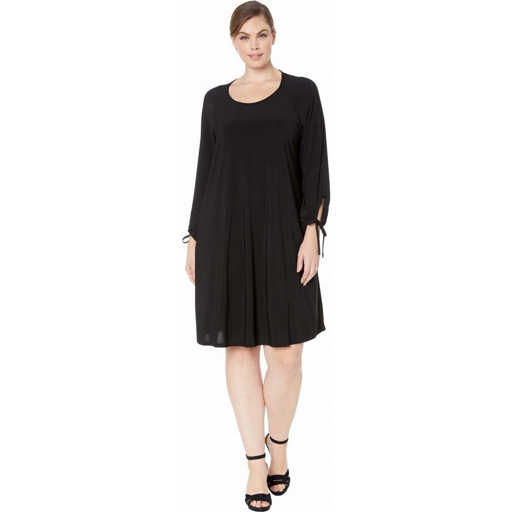 カレンケーン Karen Kane Plus レディース ワンピース 大きいサイズ ワンピース・ドレス【Plus Size Tie-Sleeve Swing Dress】Black