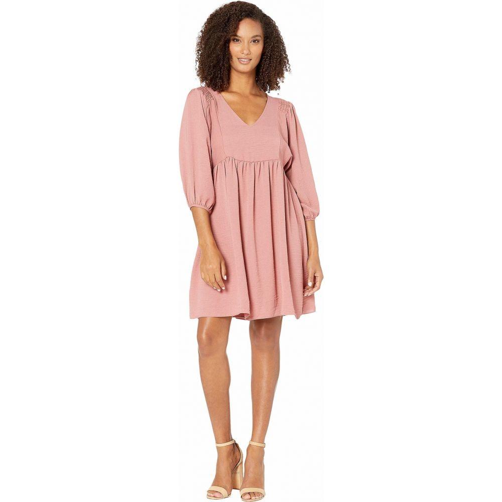 アメリカンローズ American Rose レディース ワンピース Vネック ワンピース・ドレス【Monet V-Neck Smocked Shoulder Dress】Ash Mauve