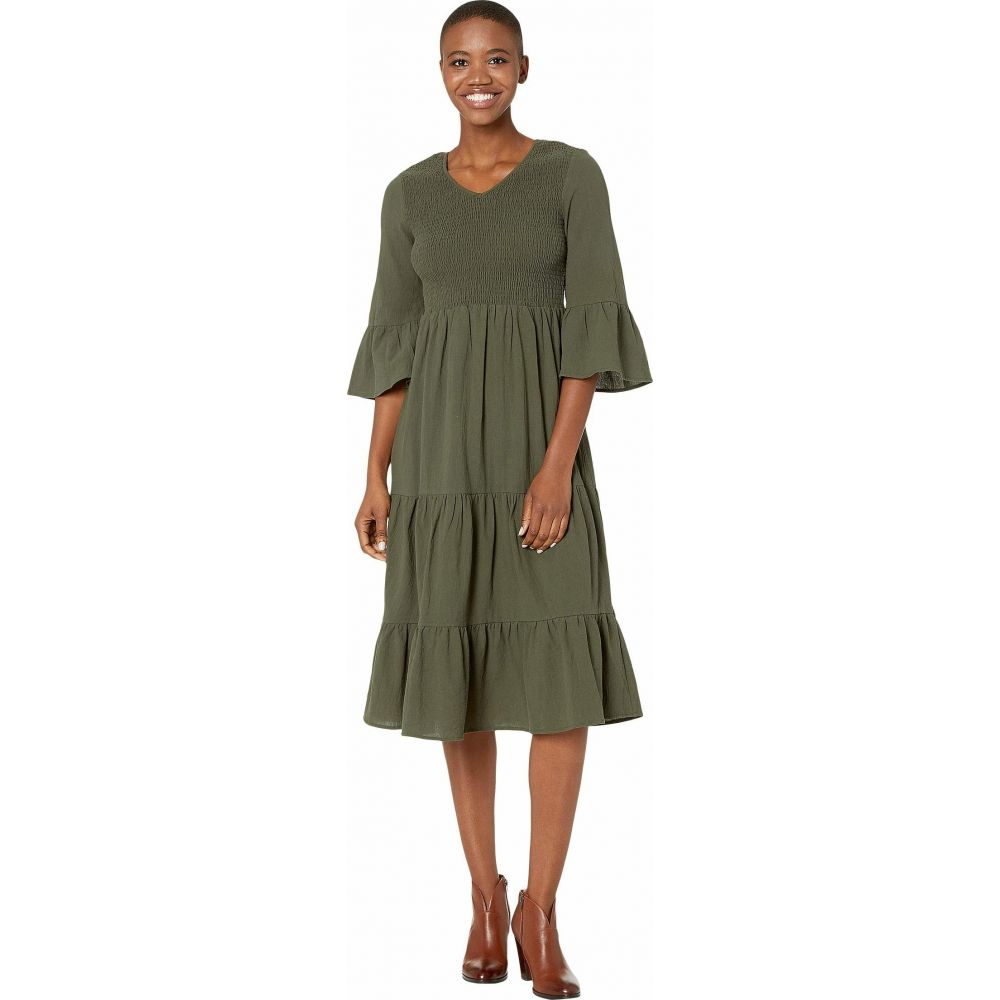 アメリカンローズ American Rose レディース ワンピース ワンピース・ドレス【Ariane Flared Sleeve Dress with Smocking】Olive
