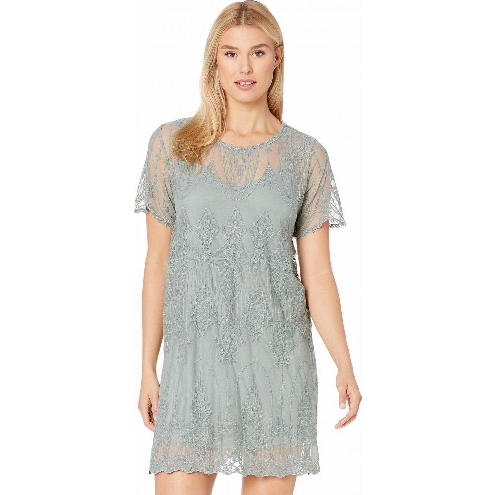 アメリカンローズ American Rose レディース ワンピース ワンピース・ドレス【Skylar Short Sleeve Lace Dress with Lining】Sage