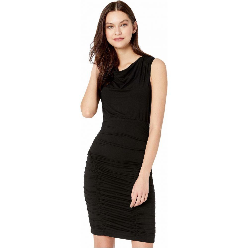 ニコルミラー Nicole Miller レディース ワンピース ワンピース・ドレス【Solid Jersey Cowl Neck Tuck Dress】Black