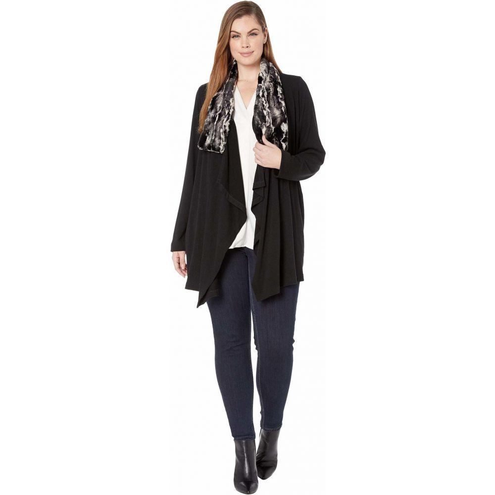 カレンケーン Karen Kane Plus レディース ジャケット 大きいサイズ アウター【Plus Size Faux Fur Collar Jacket】Black