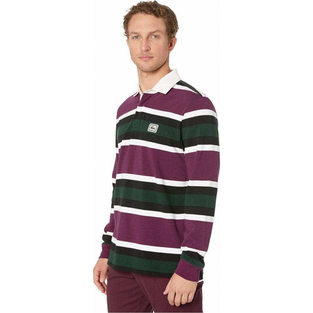 ラコステ Lacoste メンズ ポロシャツ トップス【Long Sleeve Heavy Jersey Bold Strip/Color Block Rugby】Eggplant/White/Black/Sinople