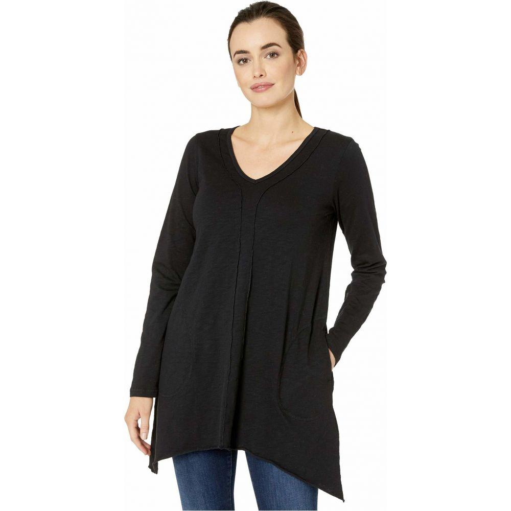 モドオードック Mod-o-doc レディース チュニック トップス【Heavier Slub Jersey Long Sleeve Seamed Tunic with Pockets】Black