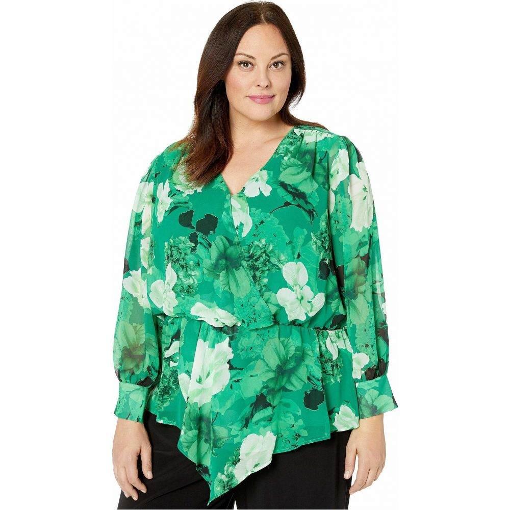 ヴィンス カムート Vince Camuto Specialty Size レディース ブラウス・シャツ 大きいサイズ トップス【Plus Size Long Sleeve Asymmetrical Peplum Cinch Waist Floral Blouse】Deep Emerald