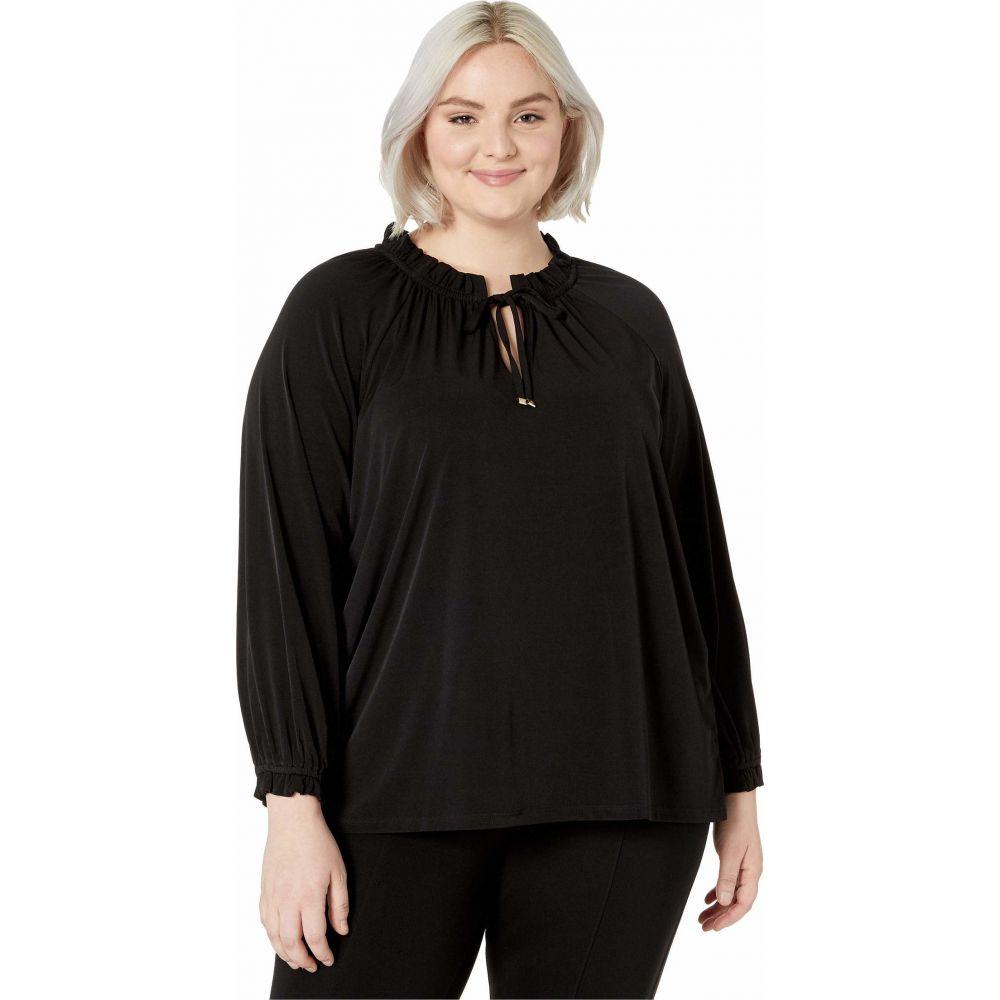 マイケル コース MICHAEL Michael Kors レディース ブラウス・シャツ 大きいサイズ トップス【Plus Size Shirred High Neck Top】Black
