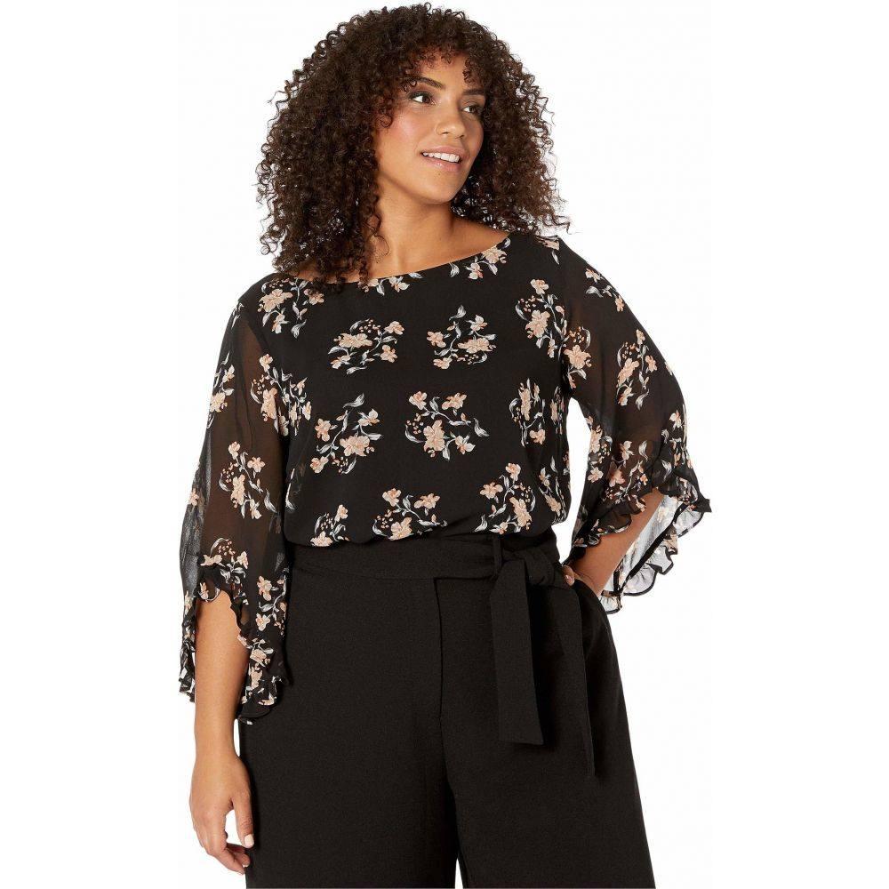 カルバンクライン Calvin Klein Plus レディース ブラウス・シャツ 大きいサイズ トップス【Plus Size Printed Ruffle Sleeve Blouse】Black/Multi